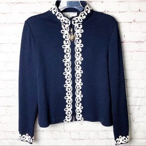 St John Collection Embroidered Santana Knit Jacket